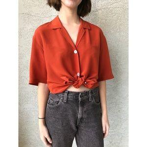 [vintage] pure silk orange button up blouse